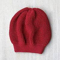 100% alpaca beanie hat, 'Endless Red' - Alpaca Knit Beanie Hat from Peru