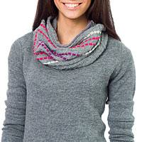 100% alpaca neck warmer, 'Gray Andes Muse' - Alpaca Knit Neck Warmer from Peru