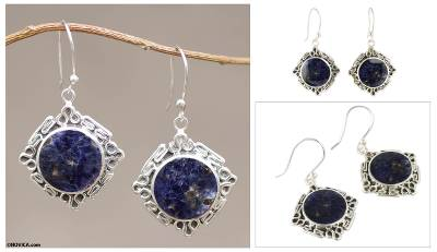 Sodalite dangle earring, 'Chavin Princess' - Artisan Crafted Silver and Sodalite Dangle Earrings