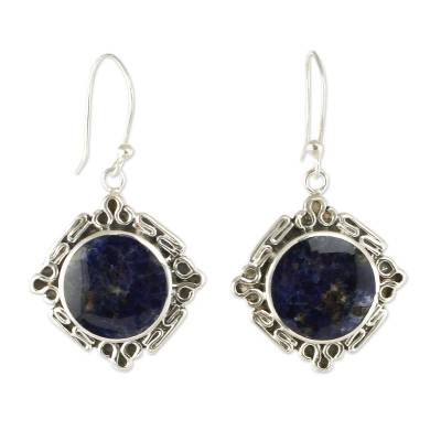 Artisan Crafted Silver and Sodalite Dangle Earrings