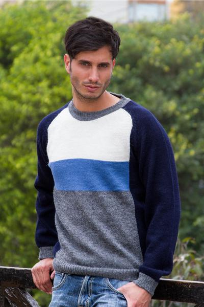 Men's 100% alpaca sweater, 'Marine Color Block' - Men's Blue White grey Alpaca Wool Sweater