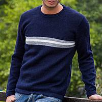 Men's 100% alpaca sweater, 'Navy Visions' - Men's Gray Accent Navy Blue Alpaca Wool Sweater