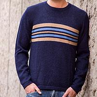 Men's 100% alpaca sweater, 'Marina' - Men's Alpaca Pullover Sweater