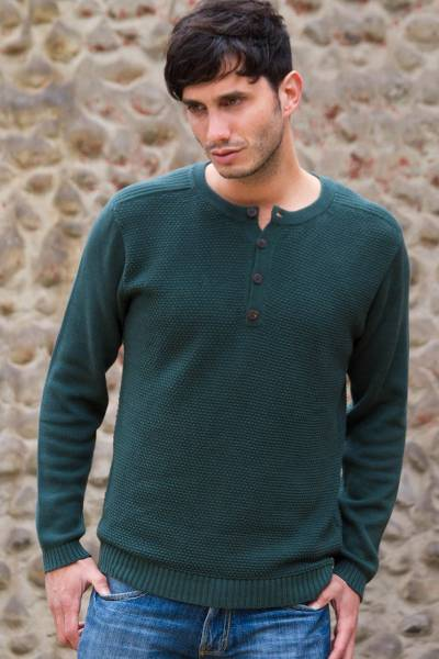 Men's cotton henley sweater, 'Deep Forest' - Andes Men's Green Pima Cotton Pullover Sweater