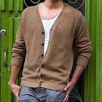 Men's cotton cardigan sweater, 'Desert Sand' - Andes Men's Light Prown Pima Cotton Cardigan Sweater