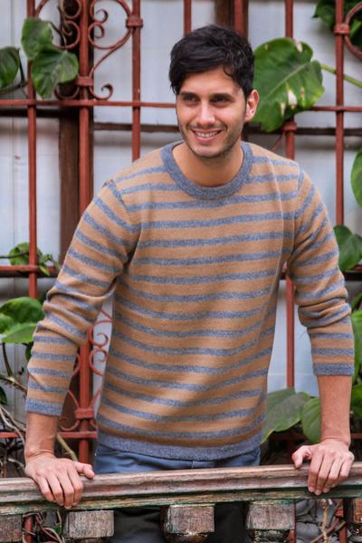 Men's 100% alpaca sweater, 'Horizons' - Men's grey and Tan Alpaca Wool Sweater