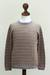 Men's 100% alpaca sweater, 'Horizons' - Men's Gray and Tan Alpaca Wool Sweater (image 2c) thumbail