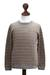 Men's 100% alpaca sweater, 'Horizons' - Men's Gray and Tan Alpaca Wool Sweater (image 2d) thumbail