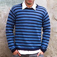 Men's 100% alpaca sweater, 'Mariner' - Fair Trade Men's Alpaca Wool Pullover Sweater from Peru