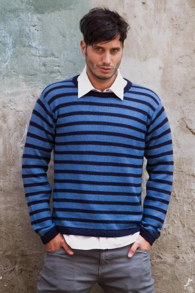 Men's 100% alpaca sweater, 'Mariner' - Men's Blue and Navy Alpaca Wool Sweater
