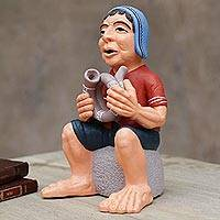 Ceramic figurine, 'Wajarapuco Song' - Artisan Crafted Ceramic Figurine of an Andean Musician