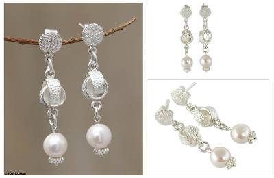 Cultured pearl dangle earrings, 'Modern Chic' - Artisan Crafted Pearl and Sterling Silver Jewelry