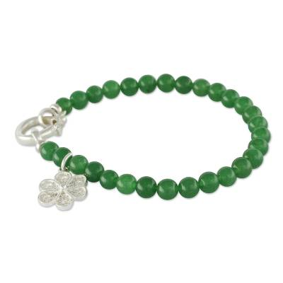 Handcrafted Beaded Bracelet with Silver Flower Charm