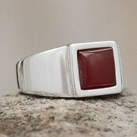 Men's agate signet ring, 'Fire' - Men's Sterling Silver Signet Ring with Agate