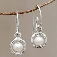 Cultured pearl dangle earrings, 'Stability' - Modern Cultured Pearl Earrings