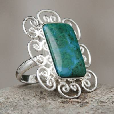 om ring silver valley football - Artisan Crafted Chrysocolla and Sterling Silver Ring