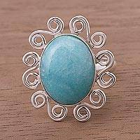 Amazonite cocktail ring, 'Ocean Bloom' - Amazonite on Sterling Silver Ring from Peru