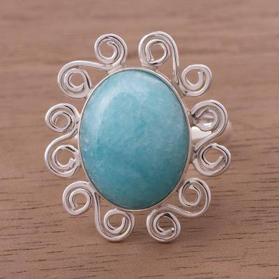 Amazonite on Sterling Silver Ring from Peru
