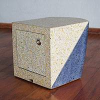 Ottoman, 'Encounter in Blue' - Blue Accent Modern Ottomon Table Box of Recycled Materials