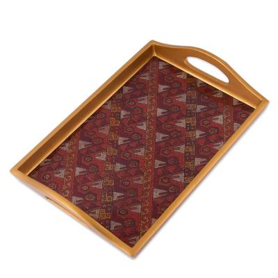Painted Glass Handcrafted Copper Color Tray