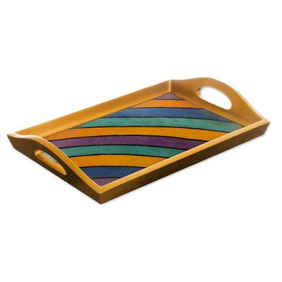 Reverse painted glass tray, 'Mineral Memoirs' - Painted Glass Handcrafted Multi-color Tray