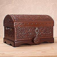 Leather and mohena wood jewelry box, 'Treasure Chest'