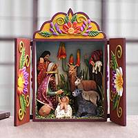 Wood and ceramic nativity scene, 'Christmas Lullaby' - Artisan Crafted Peruvian Retablo Nativity Scene