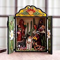 Wood and ceramic nativity scene, 'Huancayo Christmas' - Andean Christmas Diorama