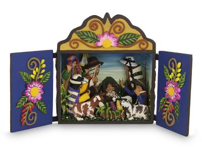 Wood and ceramic nativity scene, 'Andean Christmas Celebration' - Hand Crafted Christmas Retablo