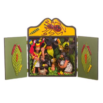 Wood and ceramic nativity scene, 'Shipibo Christmas' - Handcrafted Signed Amazon Nativity Scene