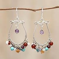 Agate and amethyst chandelier earrings, 'Color Bouquet' - Cultured Pearl and Gemstone Chandelier Earrings