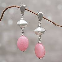 Sterling silver dangle earrings, 'Ravishing Pink' - Fair Trade Jewelry Sterling Silver Pink Quartz Earrings