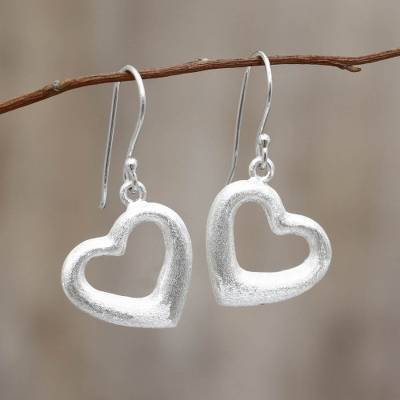 Sterling silver heart earrings, 'Love's Anchor' - Fair Trade Jewelry Sterling Silver Earrings