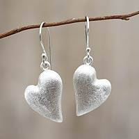 Sterling silver heart earrings, 'Strong Hearts' - Sterling Silver Heart Earrings