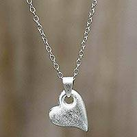 Sterling silver heart necklace, 'Strong Heart' - Brushed Satin Sterling Silver Necklace
