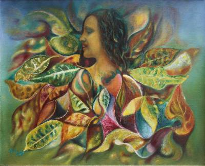 'Plant Woman' (2013) - Woman with Croton Leaves Painting