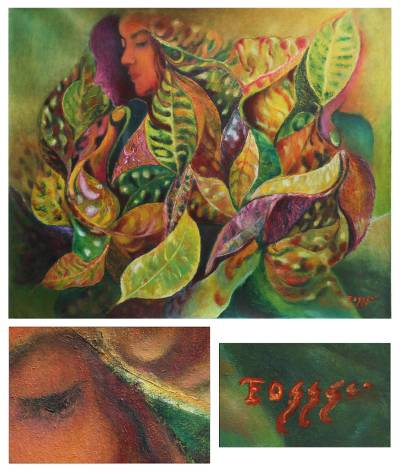 'Nymph with a Croton' (2013) - Woman with Croton Leaves Painting
