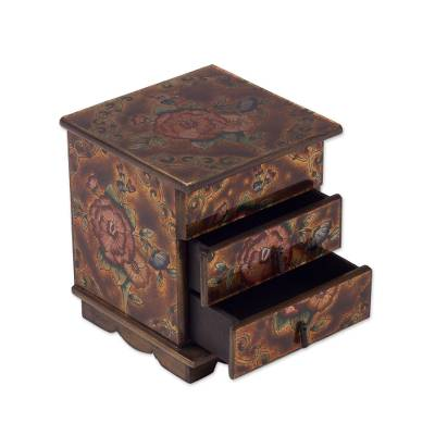 Painted glass jewelry box, 'Eternal Flowers' - Andean Reverse Painted Glass Jewelry Box with Mirror