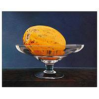'In My Goblet' (2012) - Papaya in a Glass Original Oil Painting