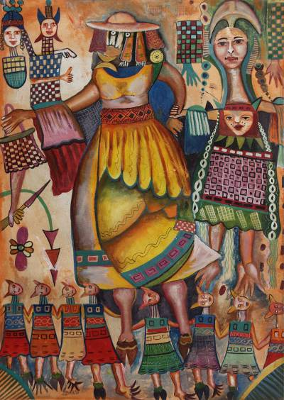 'Mother and Daughters' - Peruvian Pre-Hispanic Mother and Daughters Painting