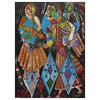 'Offering' - Cubist Andean Sweethearts Painting