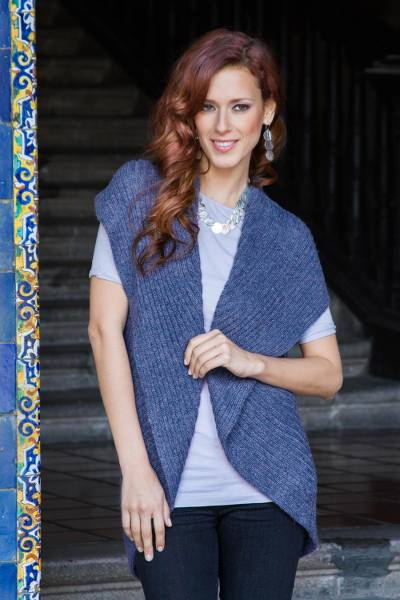 Alpaca blend sleeveless cardigan, 'Blue Caress' - Blue Alpaca Blend Sleeveless Cardigan
