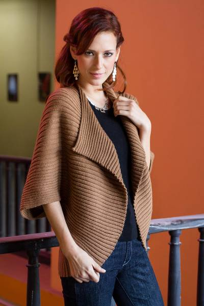 Alpaca blend cardigan, Cinnamon Caress
