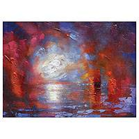 'Light's Fleeting Attempt' - Abstract Sunset Seascape
