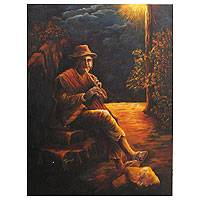 'Melodies II' - Midnight Flute Player Peruvian Painting