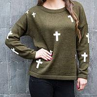 Alpaca blend sweater, 'Forest Crosses' - Green Alpaca Blend Sweater from Peru