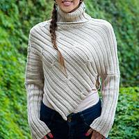 Alpaca blend sweater poncho, 'Cuzco Intrigue' - Alpaca Blend Sweater Poncho from Peru