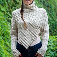 Alpaca blend sweater poncho, 'Cuzco Intrigue'