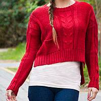 Alpaca blend sweater, 'Scarlet Belle' - Red Alpaca Blend Sweater