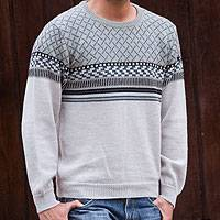 Men's 100% alpaca sweater, 'Renewal' - Men's Alpaca Wool Pullover Sweater